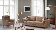 Kahverengi Koltuklu Salon Dekorasyon Modelleri